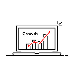 statistic graph icon in thin line laptop vector image