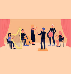 symphony orchestra banner - cartoon people with vector image