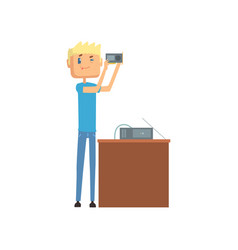 System administrator networking service cartoon vector