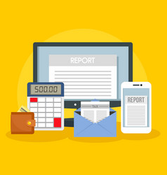 Tax report concept background flat style vector