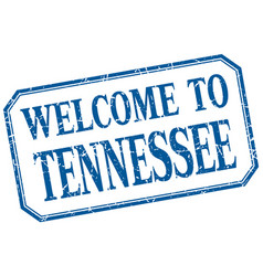 Tennessee - welcome blue vintage isolated label vector