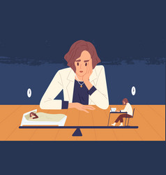 tired business woman choice between health and vector image