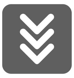 Triple Arrowhead Down Flat Squared Icon vector