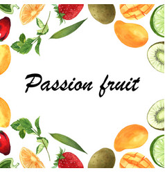 Tropical fruit frame banner with text vector