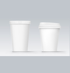 two white empty blank plastic cola cup vector image