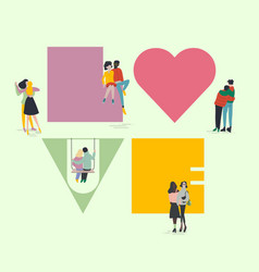 Valentines day concept tiny people in love vector