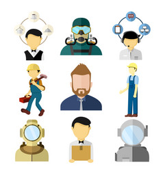 various working people set vector image