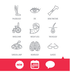 Vein varicose neurology and trichology icons vector