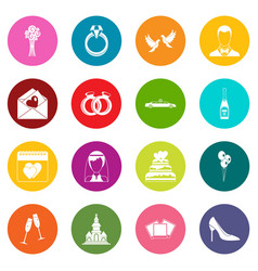 wedding icons many colors set vector image