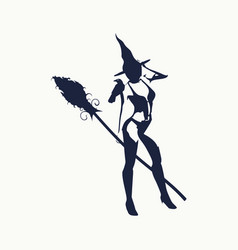 witch silhouette with a broomstick vector image