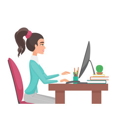 Young pretty woman works in office girl sitting vector