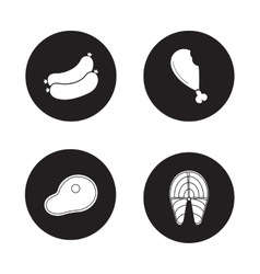 Barbecue meat black icons set vector image