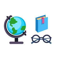 globe earth geography book and glasses icon vector image