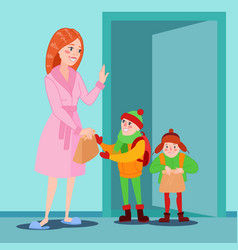 happy mother prepares her sons for school vector image