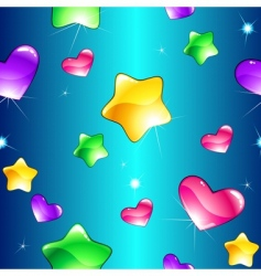 hearts and stars pattern vector image vector image