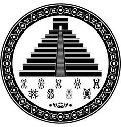 mayan pyramid and fantasy symbols vector image