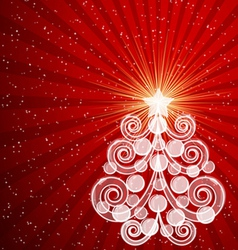 Red Christmas card with swirls tree and balls vector image vector image