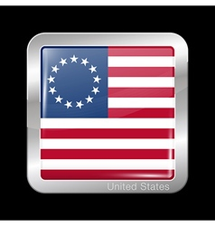 American Betsy Ross Flag Metal Icon Square Shape vector image