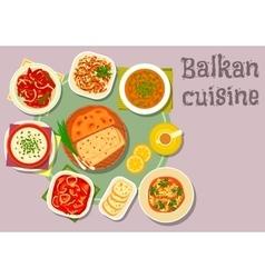 Balkan cuisine dishes for dinner menu design vector image vector image