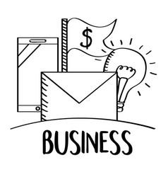 business mobile email money idea doodle vector image