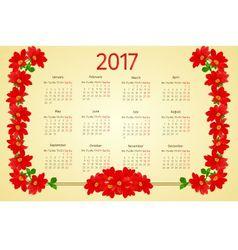 Calendar 2017 with red Dahlia vintage vector image vector image
