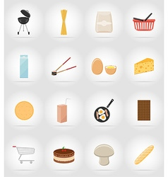 Food objects flat icons 17 vector