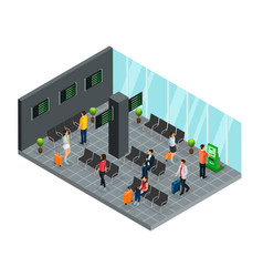 Isometric airport departure lounge concept vector