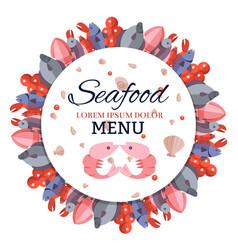 round banner menu with sea food vector image
