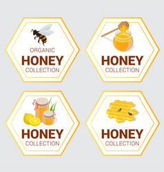 set of raw honey labels for greetings and vector image vector image