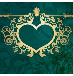Vintage valentine background with golden heart vector image