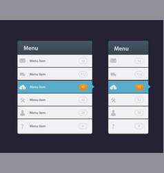 web site design menu navigation elements with vector image