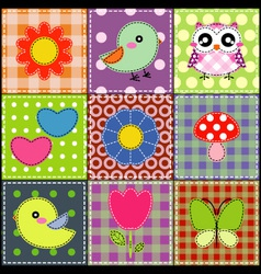 Background with heart flower mushrooms and birds vector image