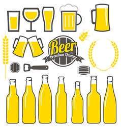 Beer icons labels signs symbols design vector image vector image