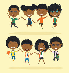 cheerful african american school boys and girls vector image vector image