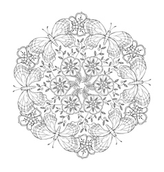 Mendie Mandala with butterflies and flowers vector image vector image