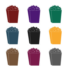 popcorn in a blue box food for an amusement park vector image