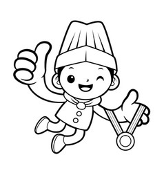 black and white funny chef mascot receive a gold vector image vector image