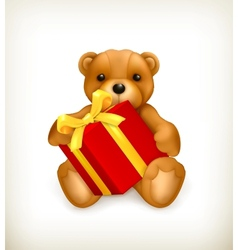 Teddy bear with gift vector image