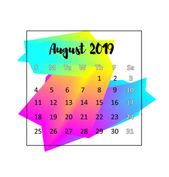 2019 calendar design concept august 2019 vector image