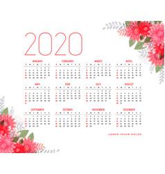 2020 calendar design with floral elements vector
