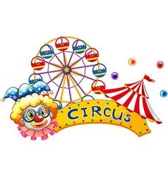 A clown beside a circus signboard vector image vector image