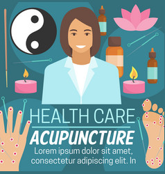 Acupuncture alternative health care medicine vector