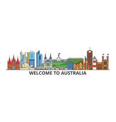 Australia outline skyline australian flat thin vector