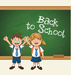 Back to school cute students uniform cheerful vector