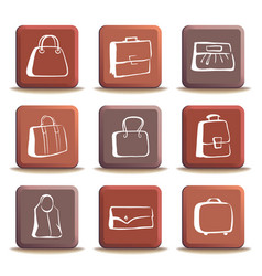 bags and suitcases doodles on buttons vector image