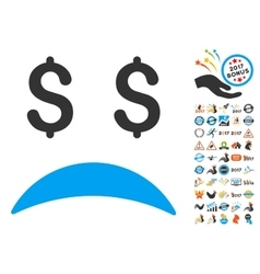 Bankrupt Sad Emotion Icon With 2017 Year Bonus vector