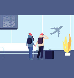 be late for flight passengers and flying away vector image