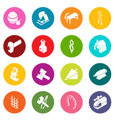 blacksmith tools icons set colorful circles vector image