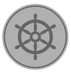 boat steering wheel silver coin vector image