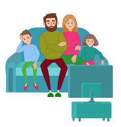 Bored family watching tv television addiction vector